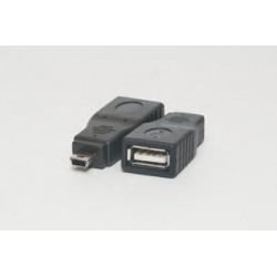 Adaptador USB Hembra A - miniUSB 5p Macho B
