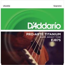 Juego de cuerdas para ukelele D'Addario EJ87S Titanium Ukulele Soprano