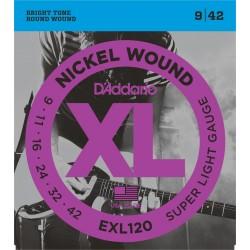 Juego de cuerdas para Guitarra Eléctrica D'Addario EXL120 - XL Super Light